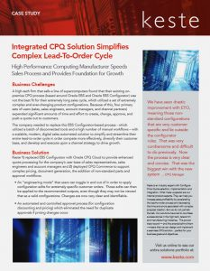Integrated CPQ Cloud Solution Simplifies Complex Lead-to-Order Cycle
